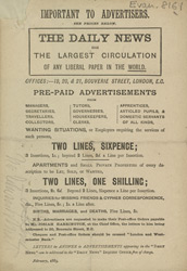 Advert For 'The Daily News' Newspaper